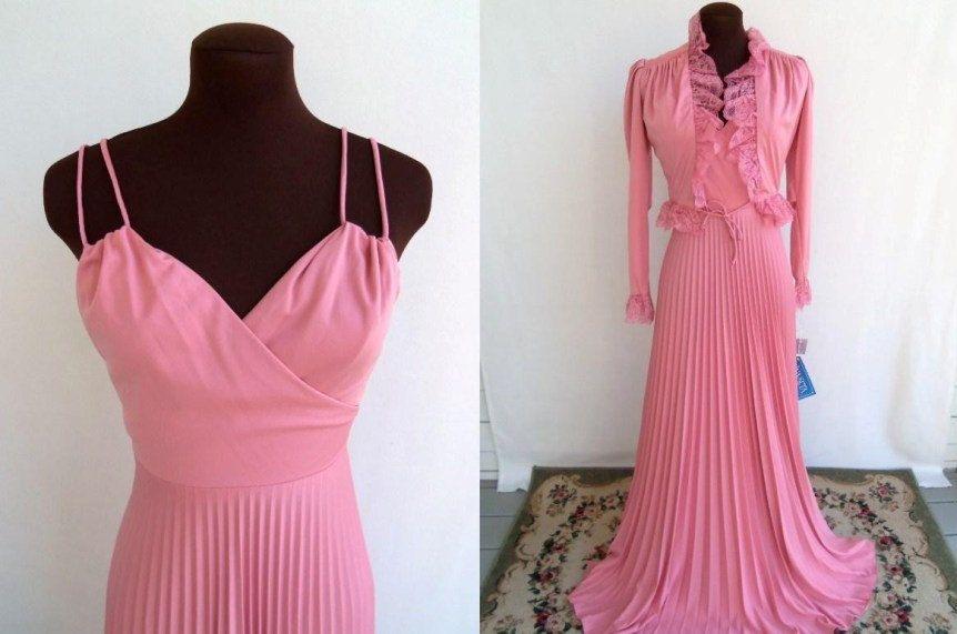 5bc2a6cd03 Vintage 70 s Maxi Dress Formal with Shrug Jacket Rose Pink Accordion Pleats  NWT Size XXS XS Ballroom.  75.00
