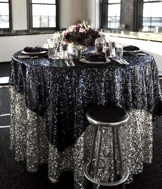 72x72 Sequin Black Glitz Tablecloth Overlay Ready To Ship Sale By