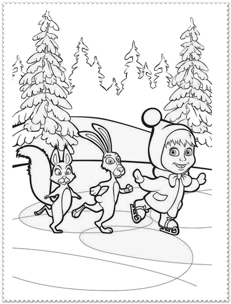 Masha And Bear Ice Skating Malen Pinterest Ausmalbilder