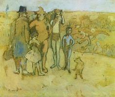 Pablo Picasso.  Familia de acróbatas [estudio], 1905