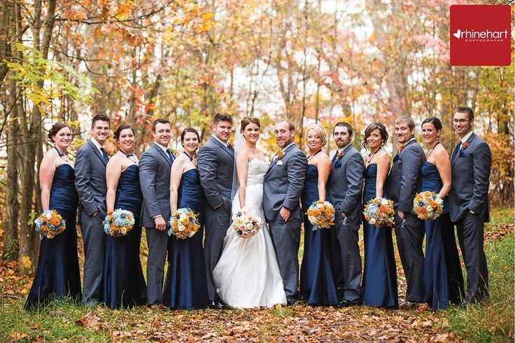Navy And Grey Fall Wedding Photography Bridal Party Colors
