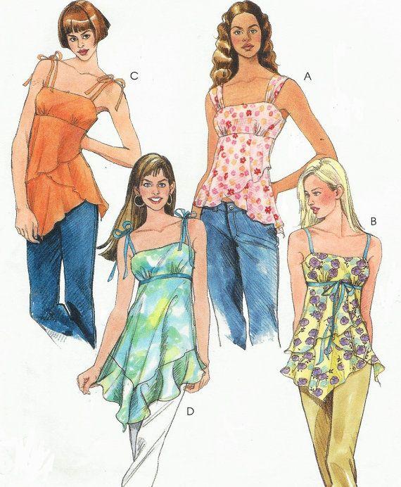 Womens Empire Waist Summer Tops OOP McCalls Sewing Pattern M4873 ...