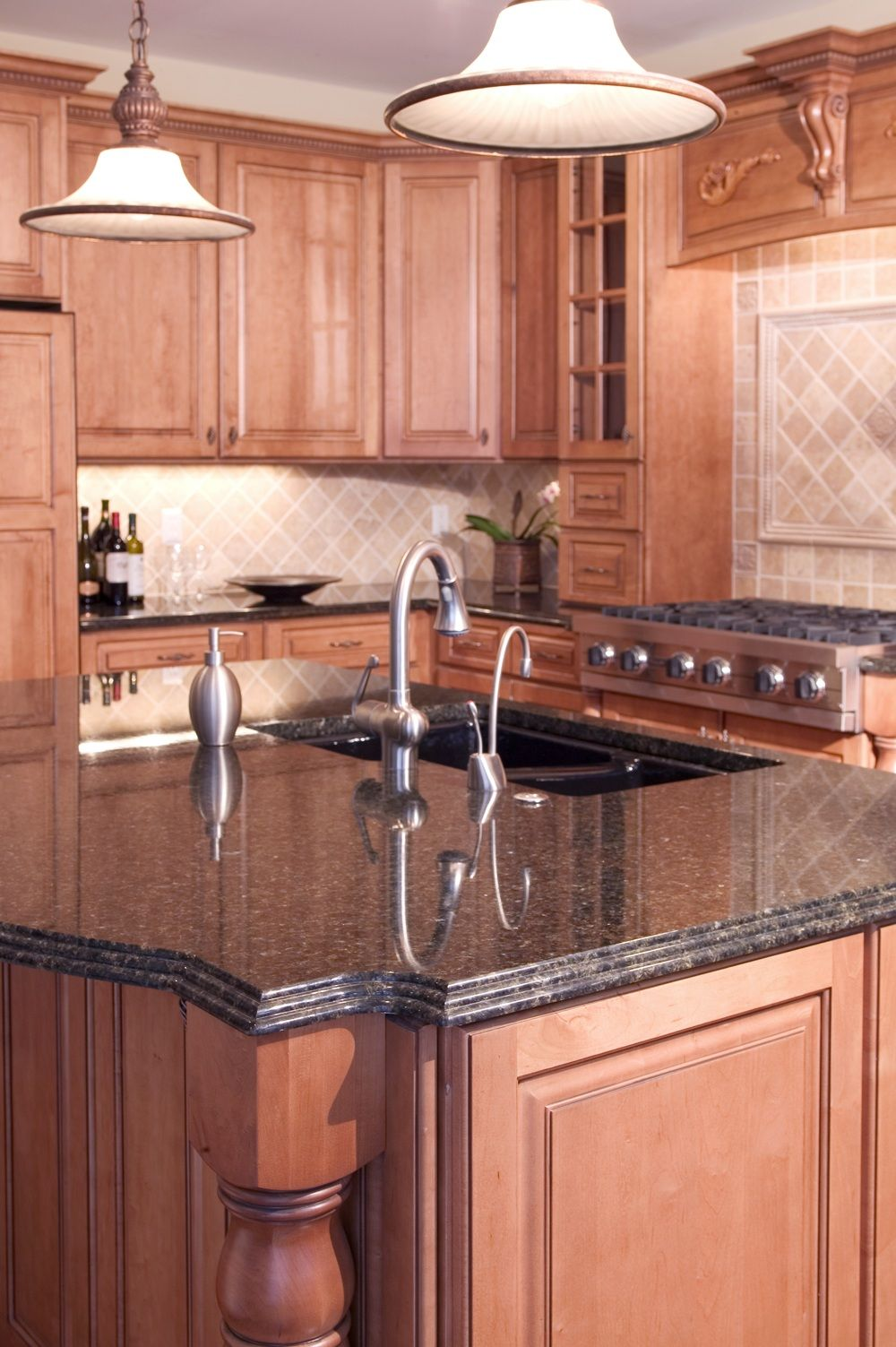 Grey Granite Countertops With Cinnamon Cherry Cabinets Tan Brown