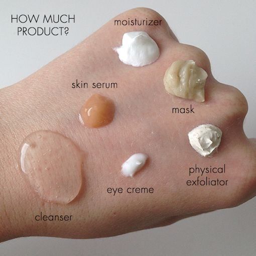 The right skin care routine order + amounts (Infographic) #skincare Are you using too much of your favorite #skincare? Use our quick cheat sheet: Cleansers: Two pumps Skin serums: Pea-sized amount Moisturizers: Chickpea-sized amount Masks: Chickpea-sized amount Physical exfoliators: Pea-sized amount Eye cremes: Half the size of a pea #eyeshaveit
