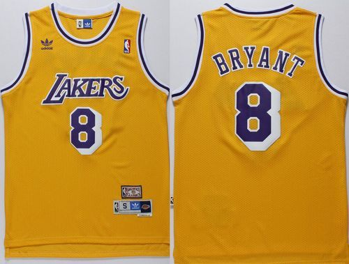 afc91e20a514 Lakers  8 Kobe Bryant Gold Throwback Stitched NBA Jersey