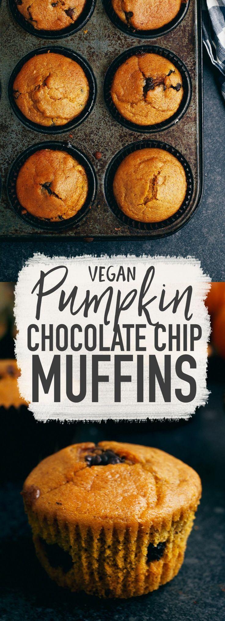 Vegan Chocolate Chip Pumpkin Muffins - Wallflower Kitchen