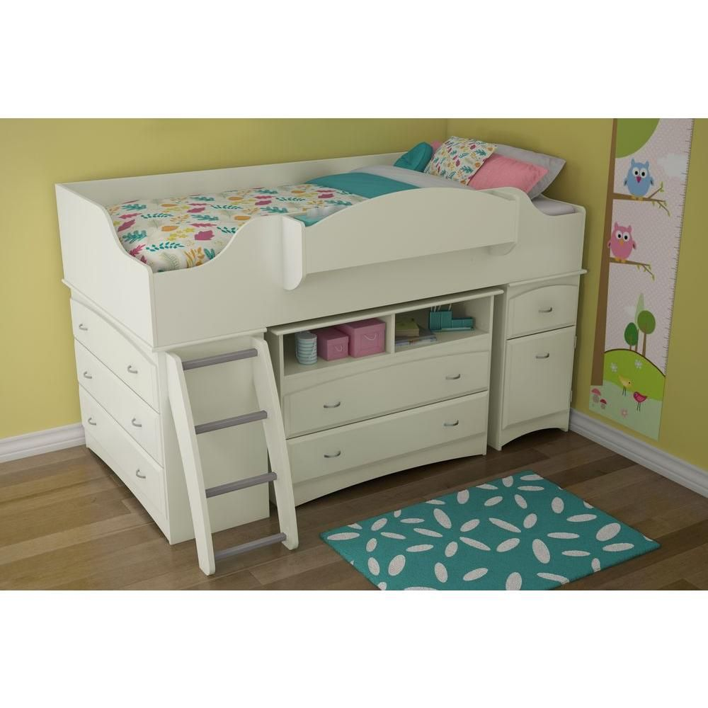 Best South Shore Imagine 4 Drawer Pure White Twin Size Loft Bed 400 x 300