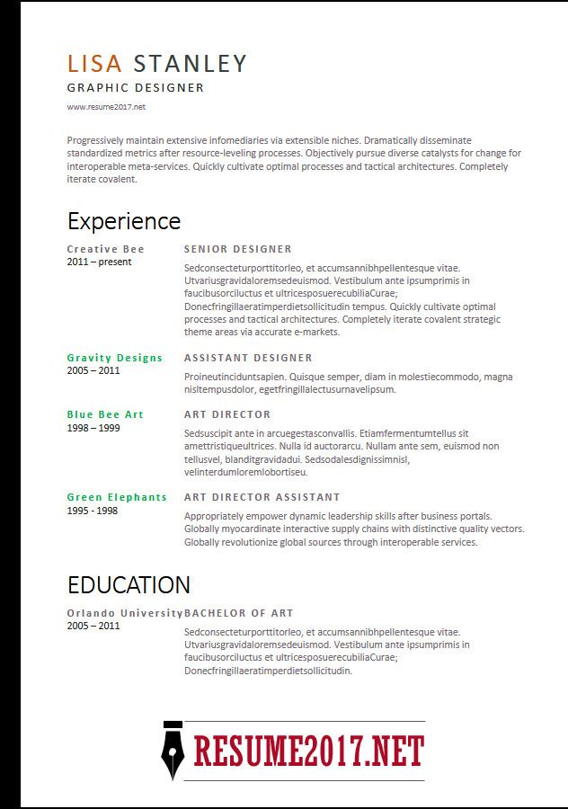 2018 Sample resume and Resume format