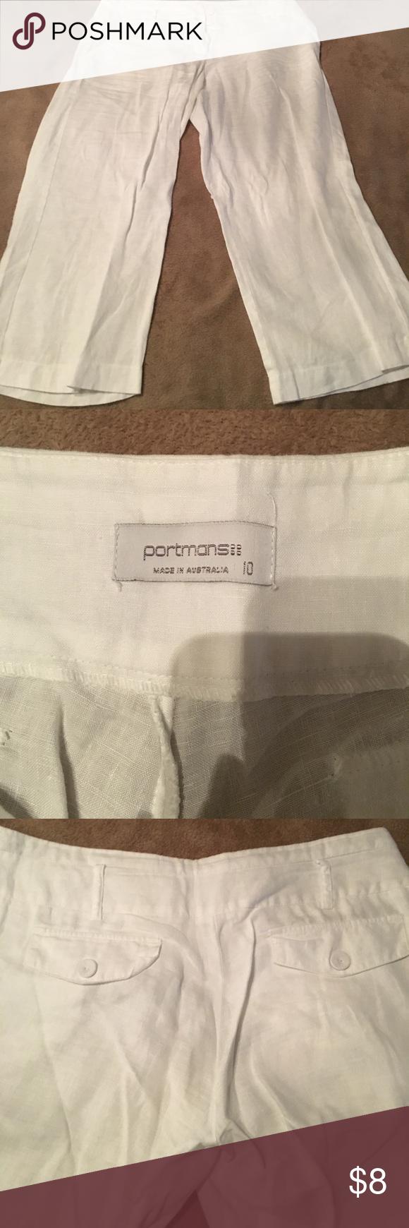 Thin, white linen capris Perfect condition portmans Pants Capris