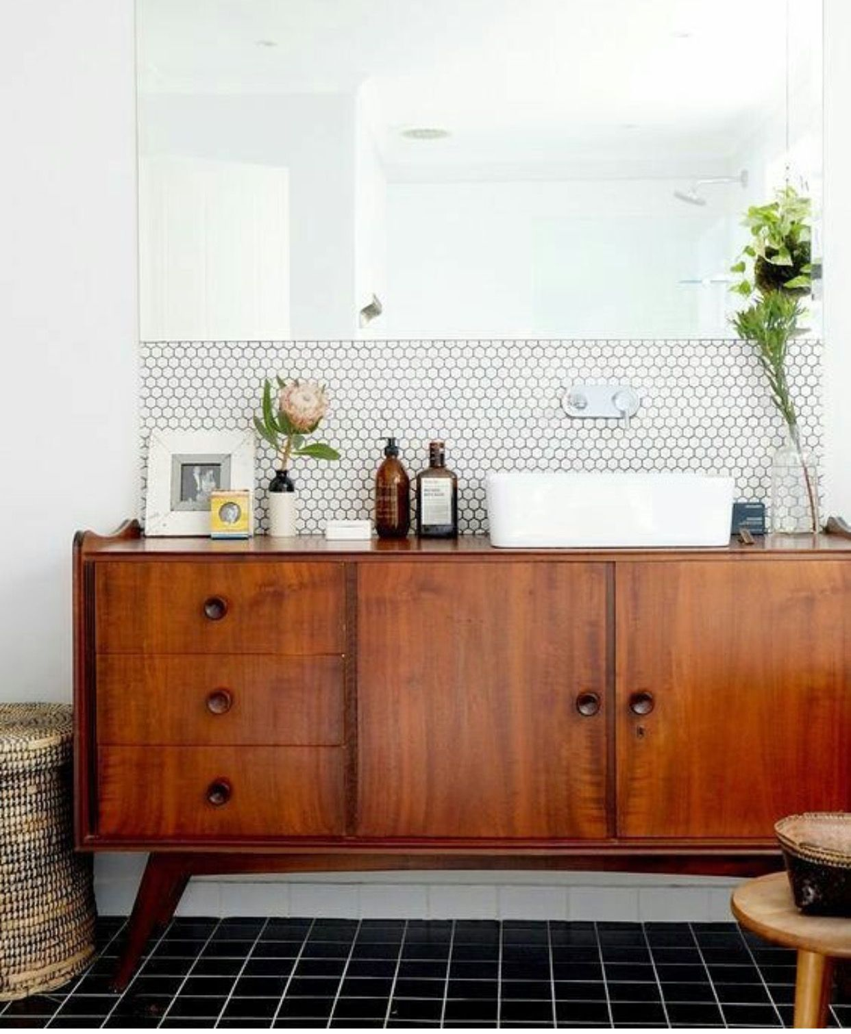 Yes To The Bathroom On So Many Levels Repurposed Teak Sideboard
