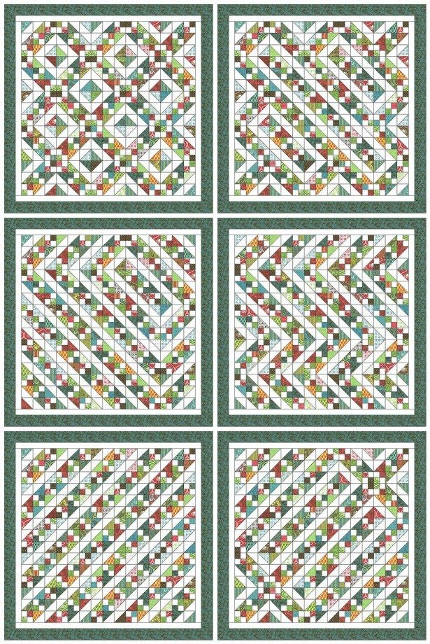 Freckled Whimsy: Charm Pack Quilt Along. Different layouts/patterns you can make from just one block.