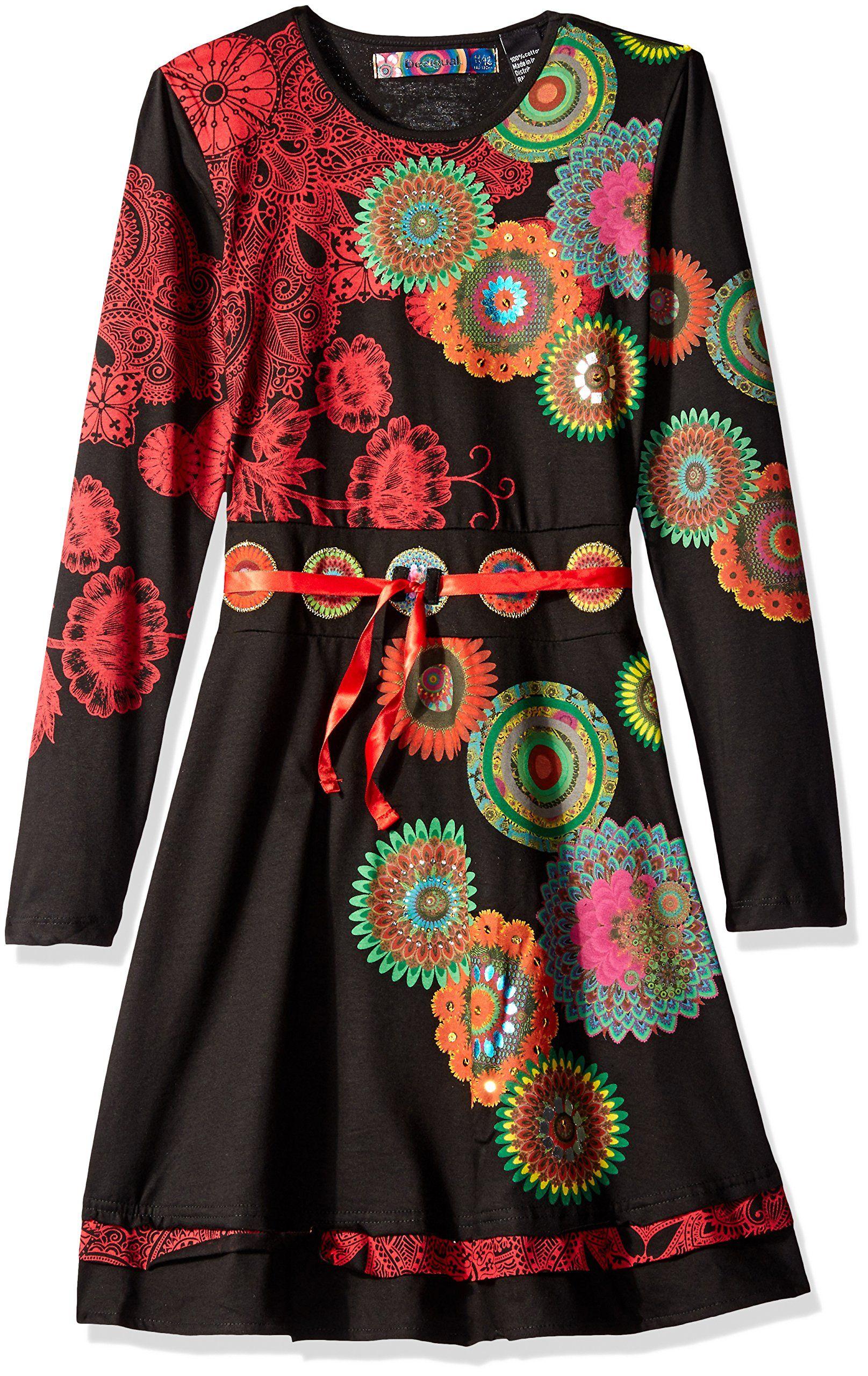 Desigual big girlsu dress jackson negro circle design happy