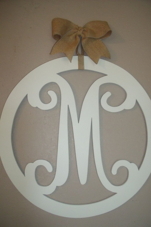 Wood Monogram 20 Inch Vine Letters Burlap Bow Initial Door