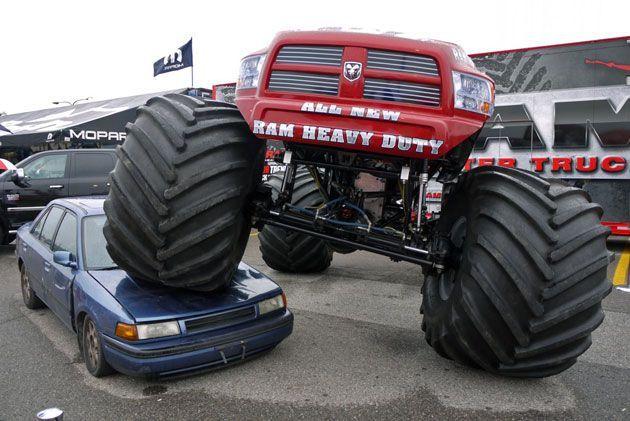 Red Dodge Ram Monster Truck Lifted Trucks Custom Trucks Trucks