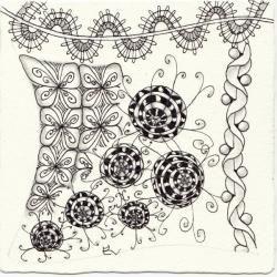 Ein Zentangle aus den Mustern Brugges, Ann, Bulls Eye, Flovine gezeichnet von Ela Rieger, CZT