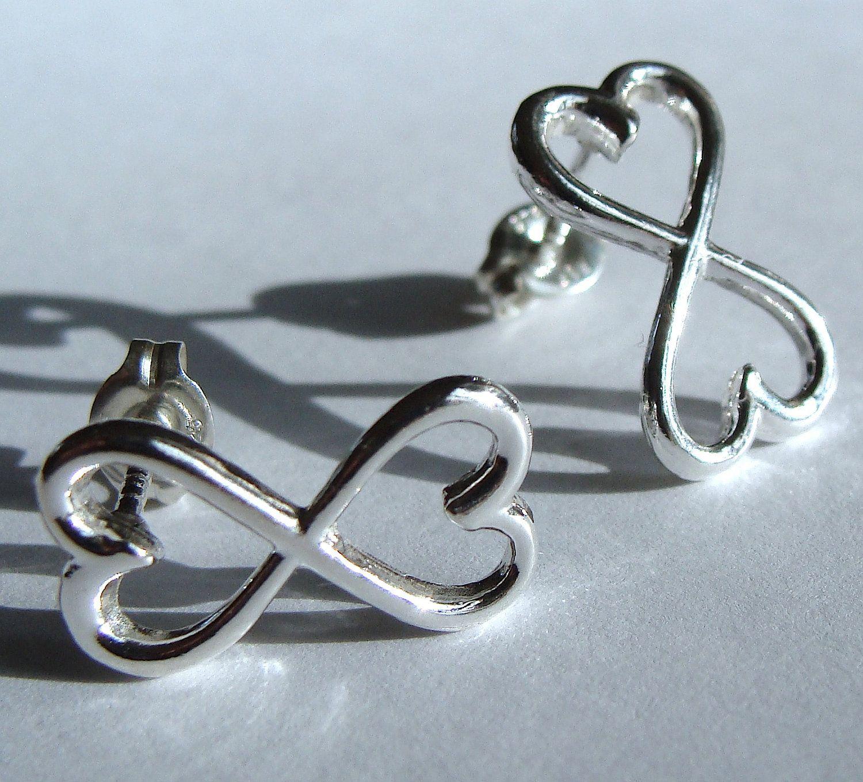 Infinite Heart Post Stud Sterling Silver Infinity Earrings Valentine Jewelry Gift. $24.00, via Etsy.