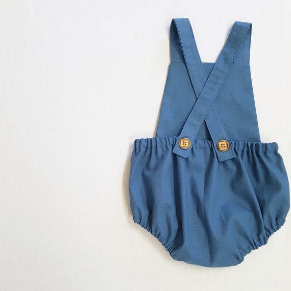 c604c8e12 Cadet Blue Linen romper Baby boy romper toddler by EdmundAndRose ...