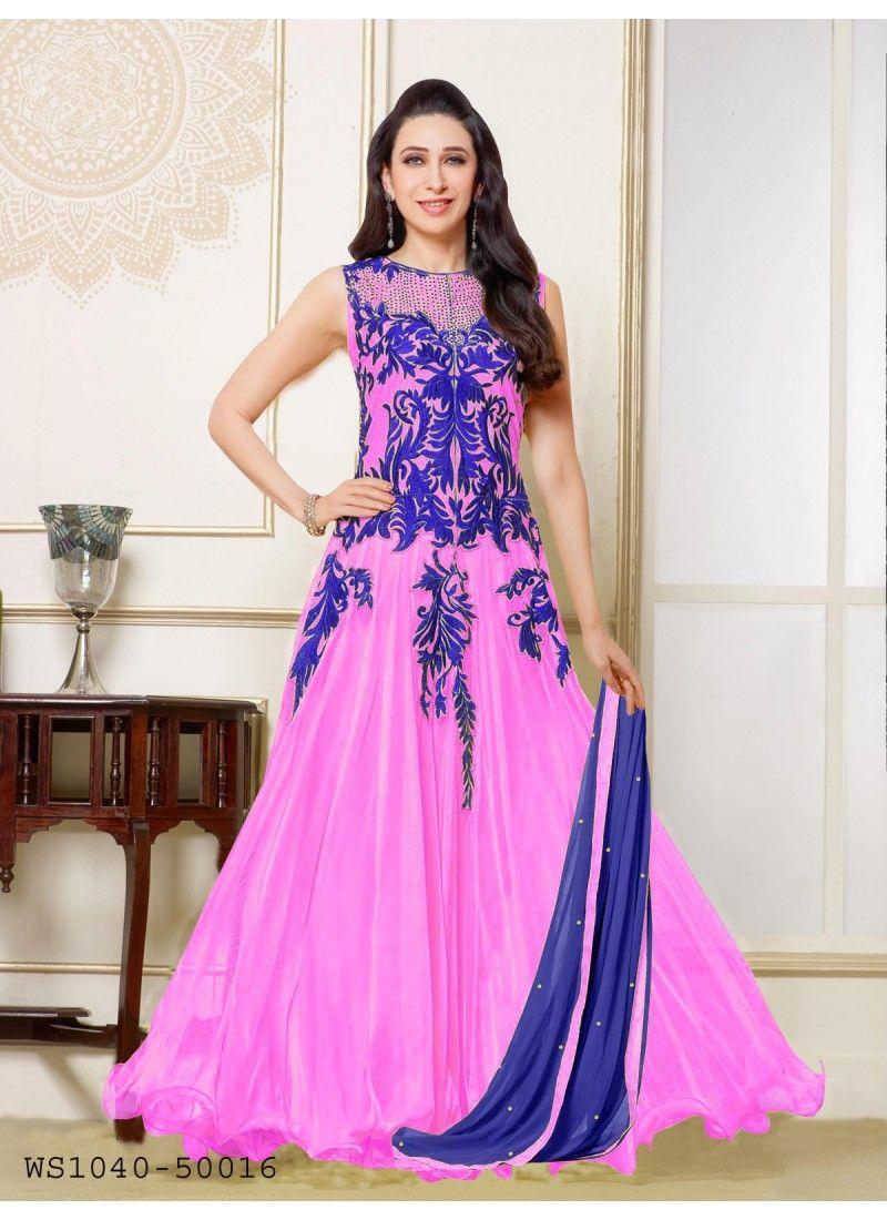Style Funia Karishma Kapoor Pink Designer Gown Style Anarkali Suit ...