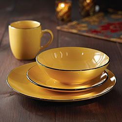 Shop for American Atelier 16-piece Classic Piping Yellow Dinnerware. Free Shipping on orders over $45 at Overstock.com - Your Online Kitchen