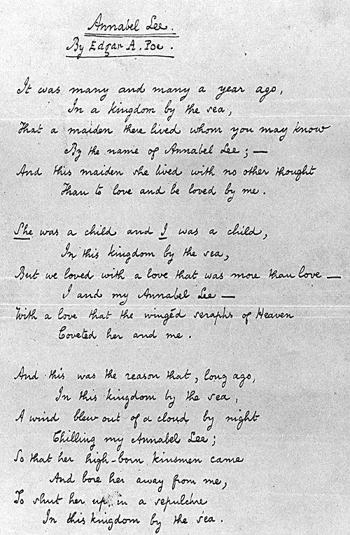 Annabel Lee - Edgar Allen Poe. My all time favorite poem. Ever.