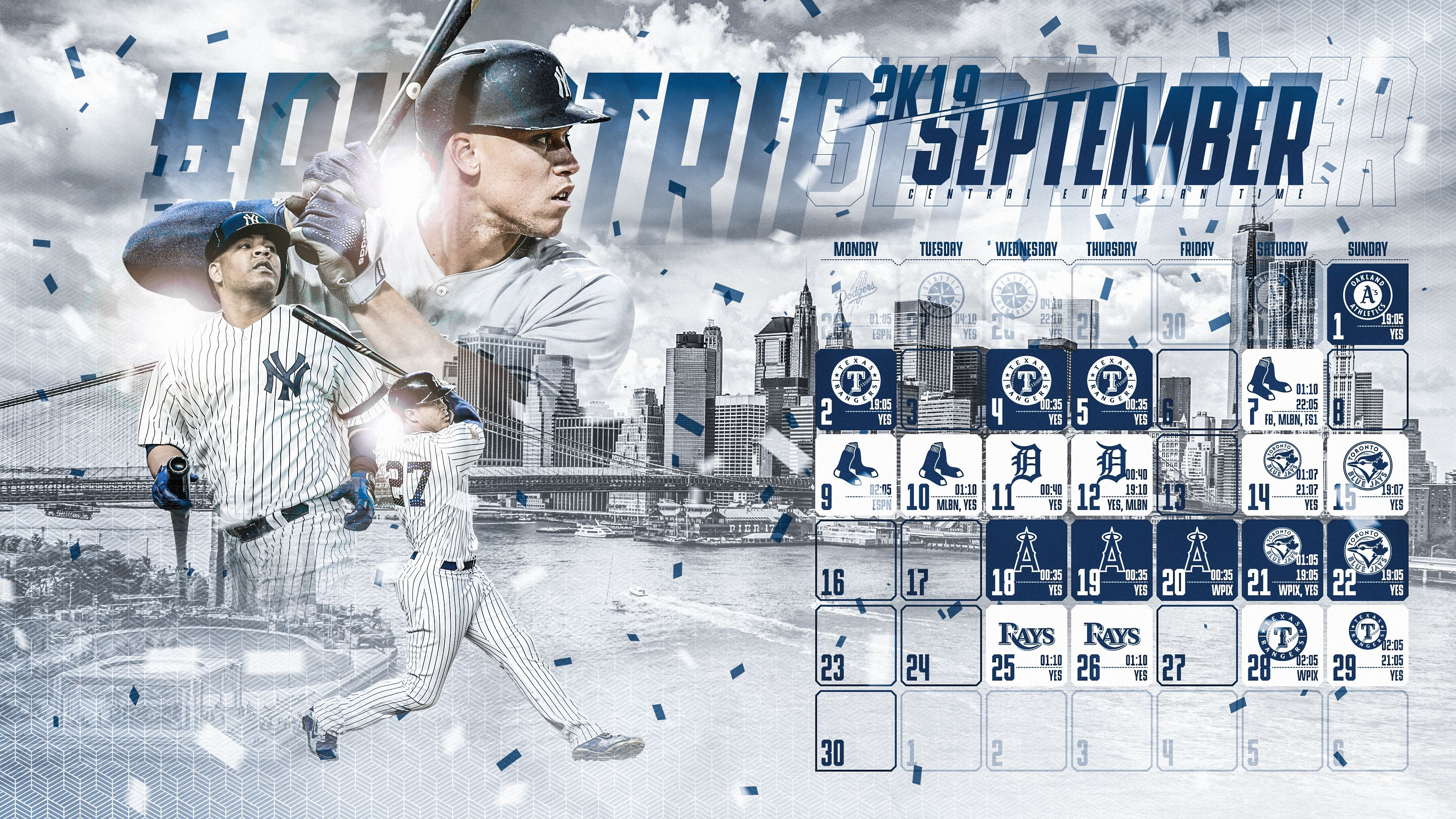 Schedule Wallpaper for the New York Yankees Regular Season