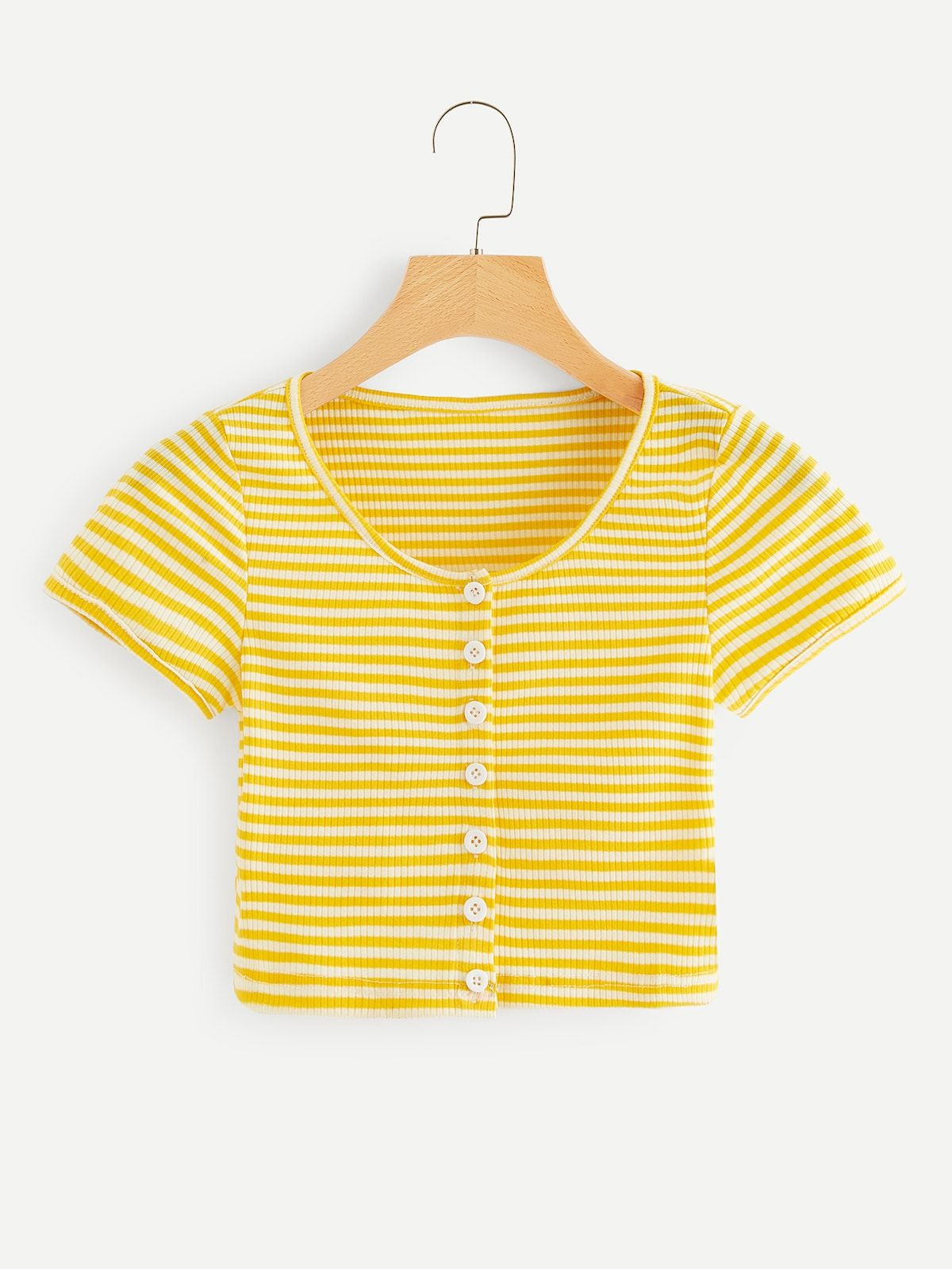 ac08a6ca08f Striped Single Breasted Tee in 2019 | Back To School | Outfits ...