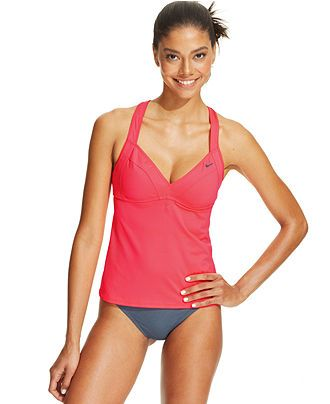 Nike Crisscross Racerback Tankini Top Ruched Bikini Bottom Swimwear Women Macy S Racerback Tankini Tankini Swimsuits For Women Tankini