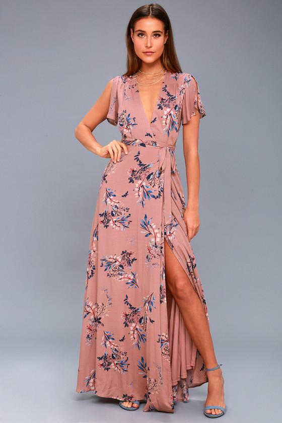 50b4b3cf3c Lulus | Fiorire Rusty Rose Floral Print Wrap Maxi Dress | Size Small ...