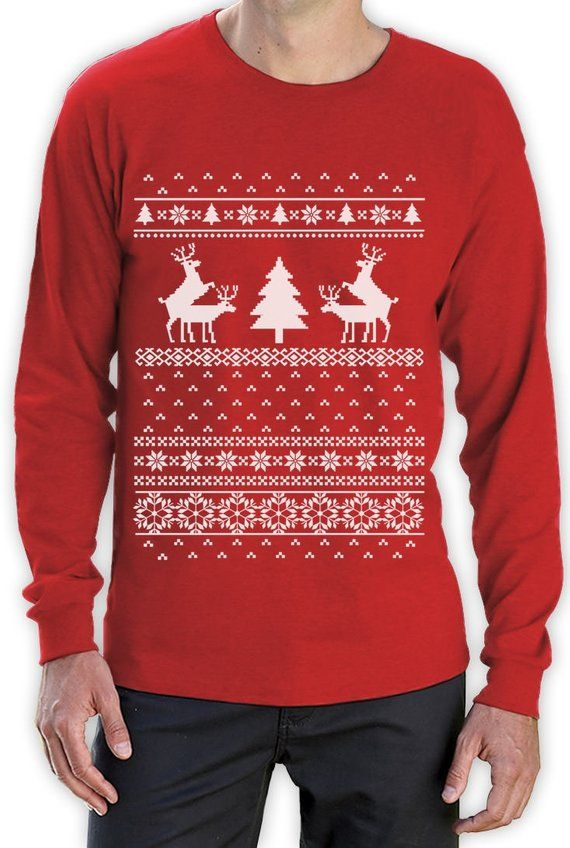 Humping Reindeer Funny Ugly Christmas Sweater Mens Long Sleeve T