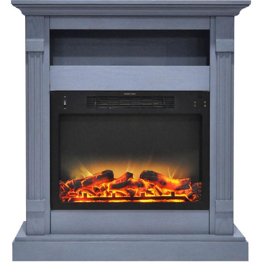 Cambridge 33 9 In W Slate Blue Fan Forced Electric Fireplace Lowes Com Electric Fireplace Free Standing Electric Fireplace Fireplace