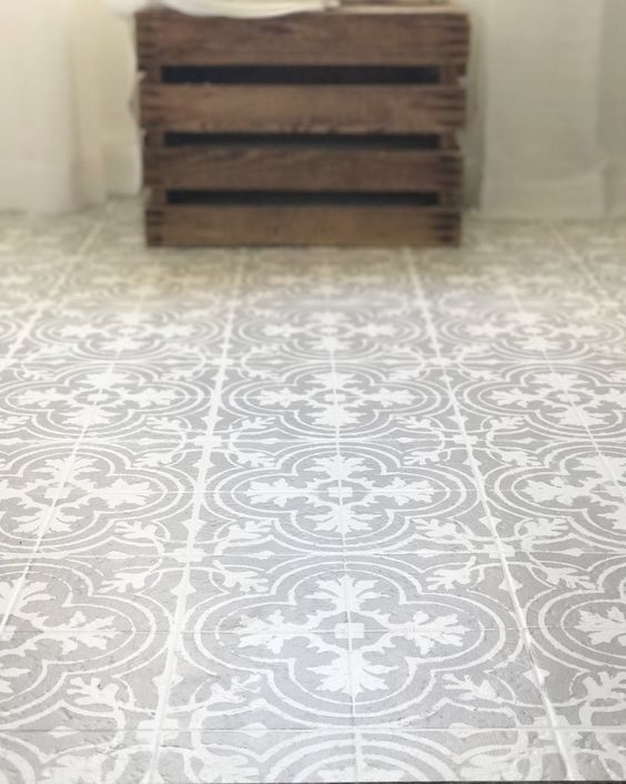 How To Paint Your Linoleum Or Tile Floors Look Like Patterned Cement Tutorial