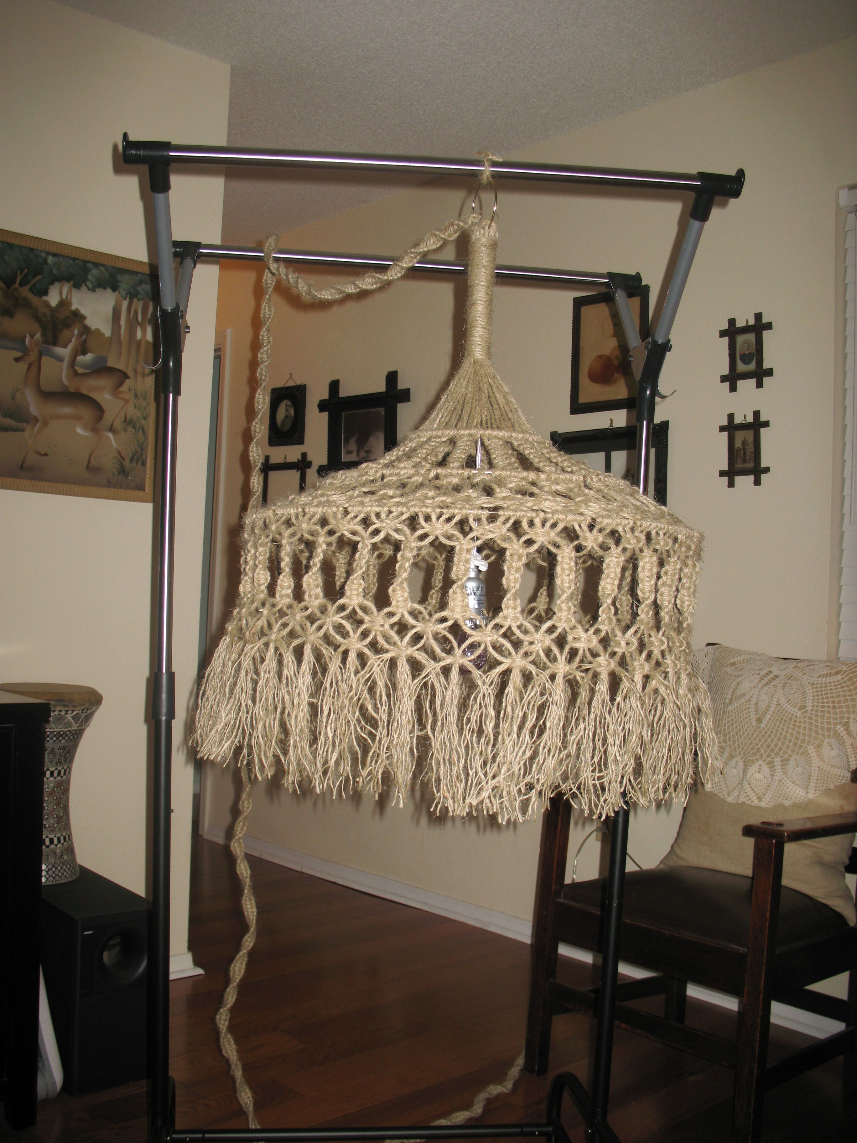 macrame swag lamp chandelier really like the cord cover made with half knots 4 ply jute. Black Bedroom Furniture Sets. Home Design Ideas