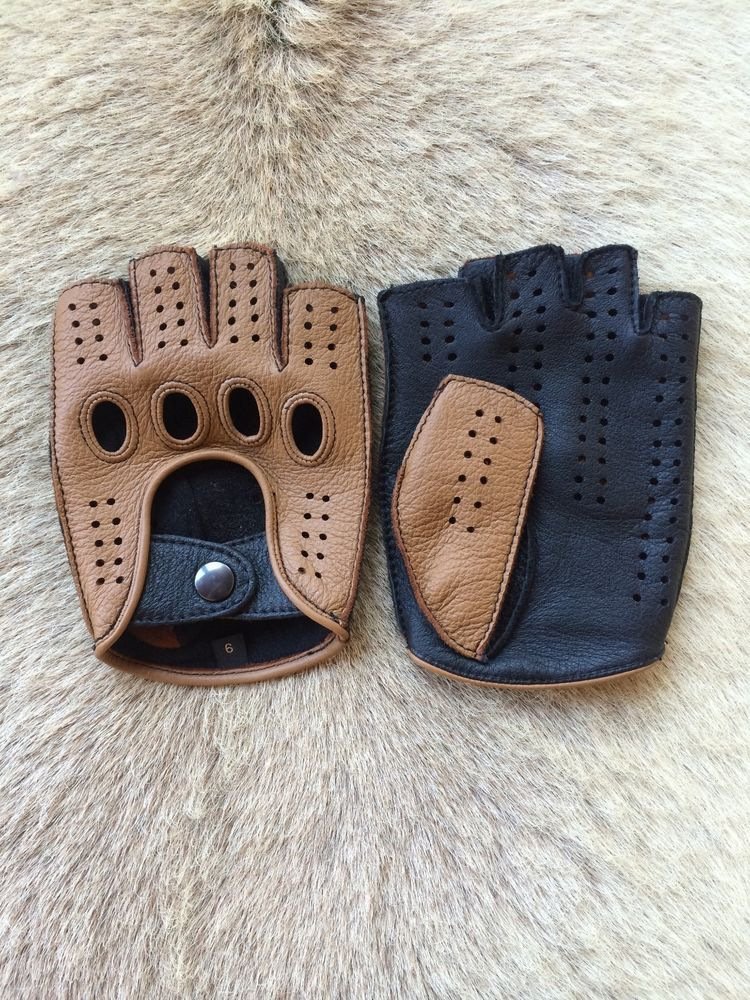 Men/'s Peccary Fingerless Driving Cycling Leather Gloves Dark Brown By Hungant