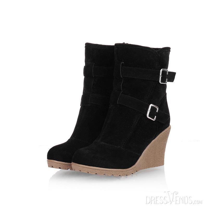 US$34.99 Exquisite Black Artificial Wool Inner Wedge Heel Women's Boots. #Knee-High #Artificial #Exquisite #Boots
