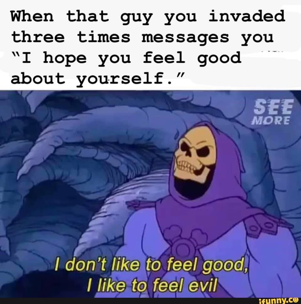 When That Guy You Invaded Three Times Messages You I Hope You Feel Good About Yourself I Don T Like To Feel Good I Like To Feel Evil Ifunny