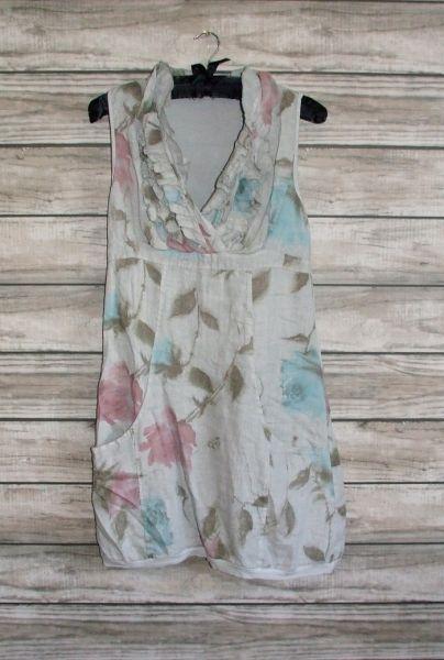 2f64eebe9f Made In Italy Shoreham Linen Dress Grey Floral