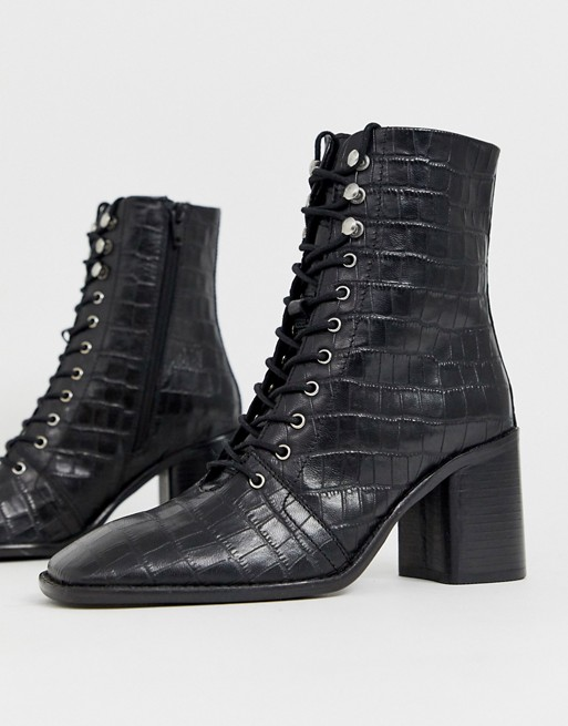 DESIGN Rivet leather square toe lace up boots in black croc