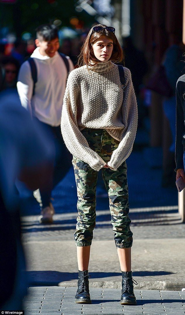 a4298f616c64b3 Green with envy  Kaia Gerber used the city streets as her own personal  runway for a quick .