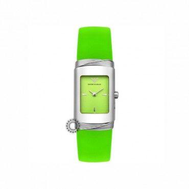 Γυναικείο quartz ρολόι EMPORIO ARMANI με χαρούμενο πράσινο καντράν  amp   πράσινη σιλικόνη  1f2e6bba072