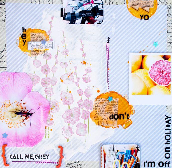 don't call me, grey I scrapbooking layout I mojosanti I Sandra Dietrich I #papercraft #scrapbook #layout