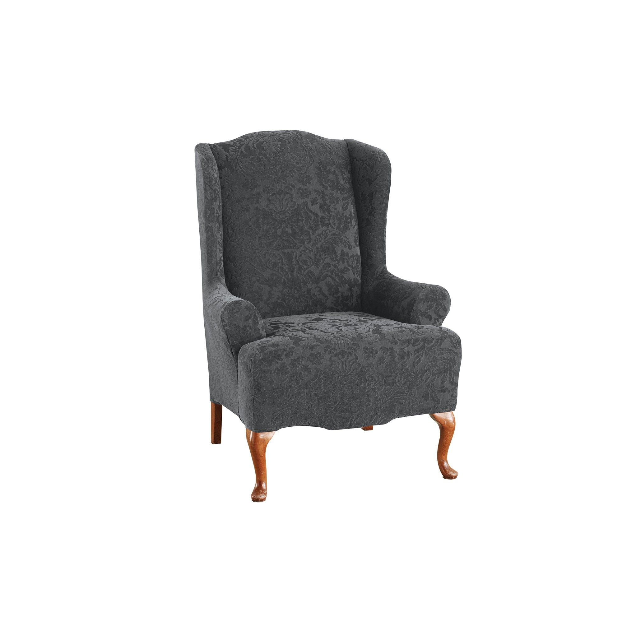 Stretch Jacquard Wing Chair Slipcover Gray Sure Fit