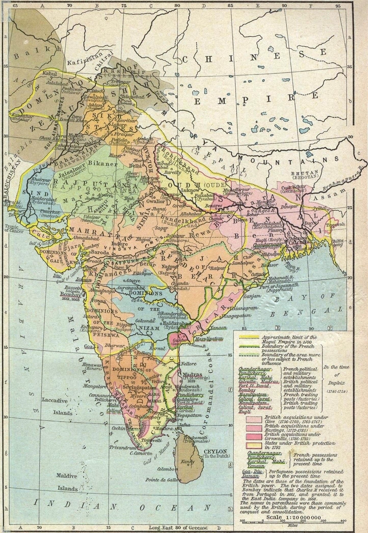 Map Of India With The Mughal Empire The French