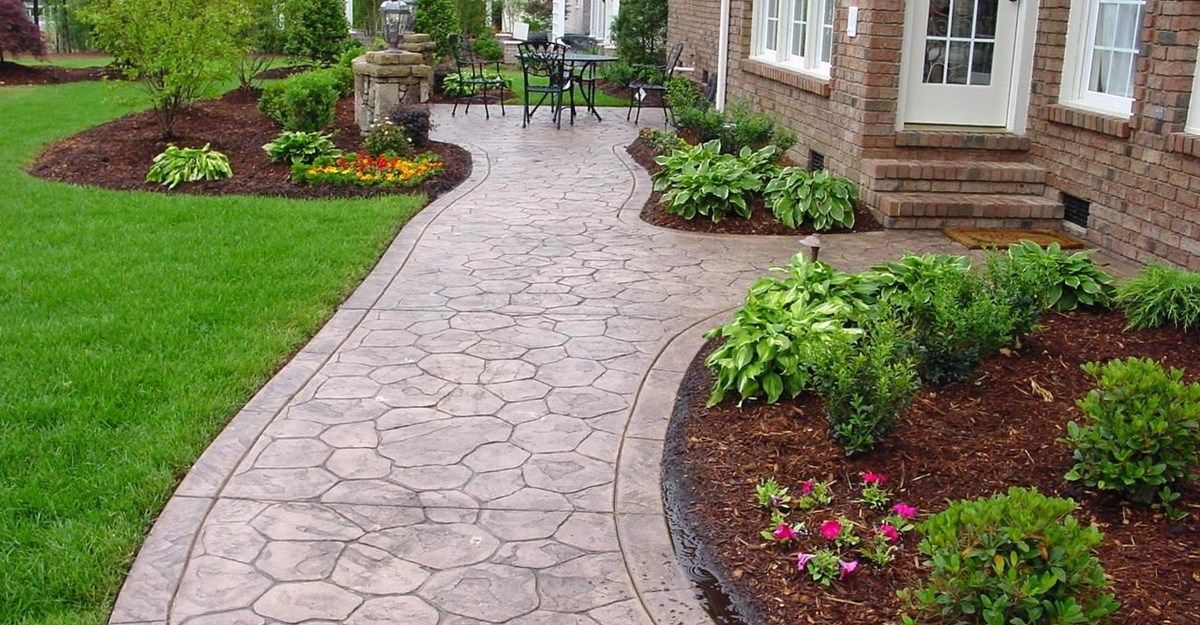 Stamped Concrete Design Ideas decorative concrete work inc Pavestone Pathway Design Captivating Cement Walkway Ideas For Frontyard In Classic House Design Pathway Ideas Pinterest Concrete Steps