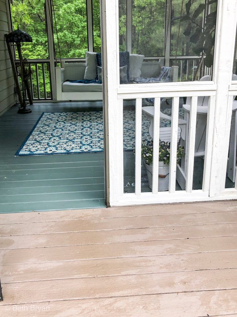 Contrasting Porch Paint Colors From Brown To Green Back Porch Makeover Porch Makeover Porch Paint