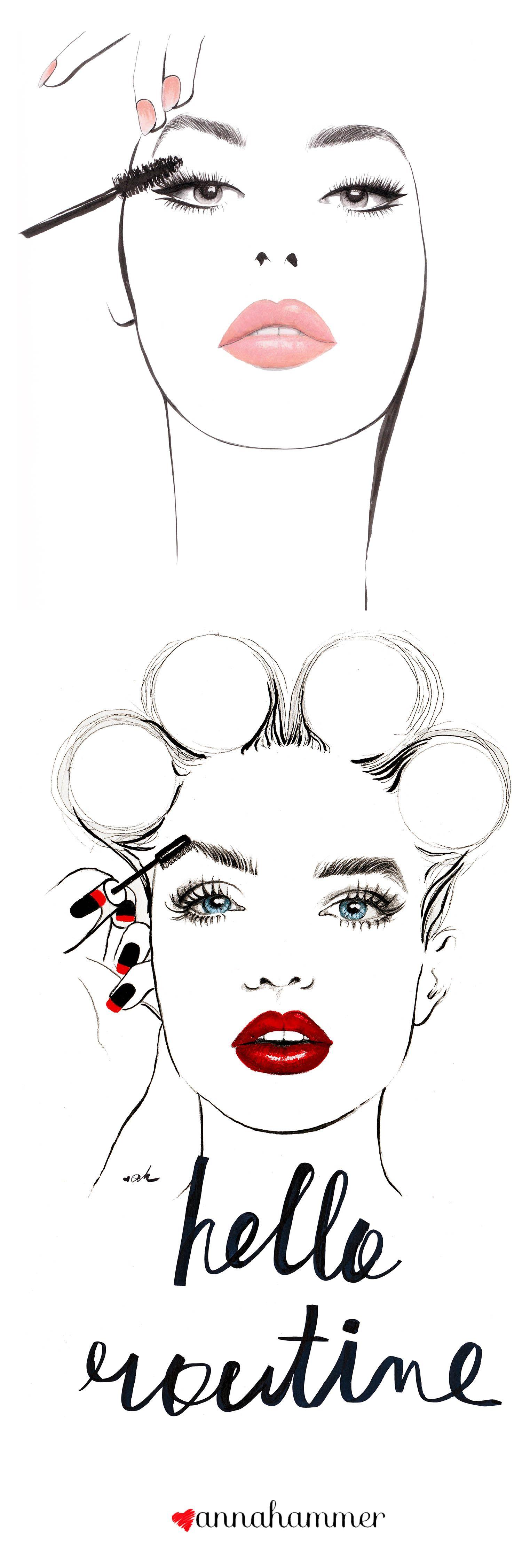 Makeup Drawing: Fashion Illustration, Fashion Poster, Beauty Salon Decor