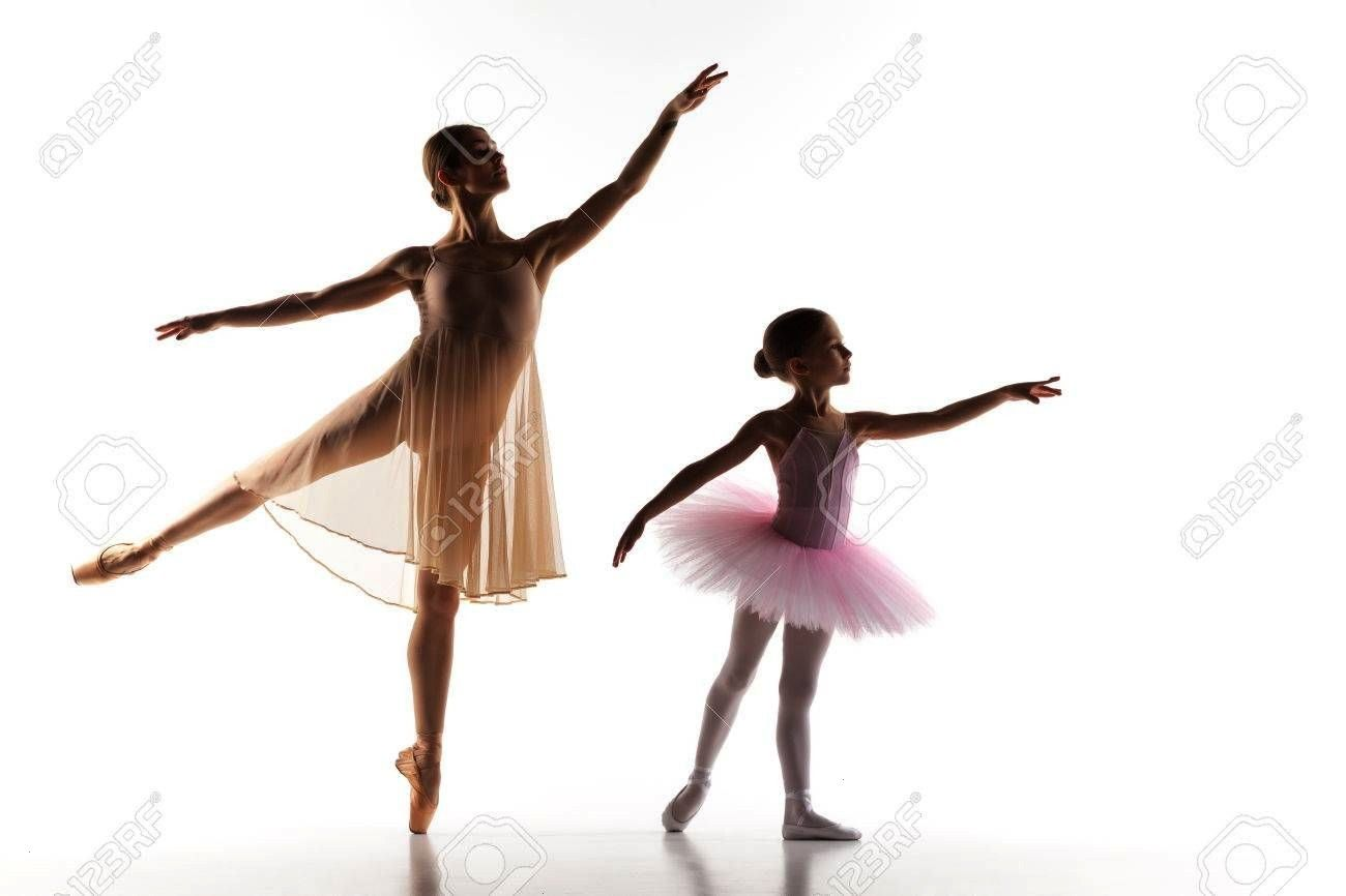 silhouettes of little ballerina and personal classic ballet teacher in dance studio dancing on a white background The silhouettes of little ballerina and personal classic...