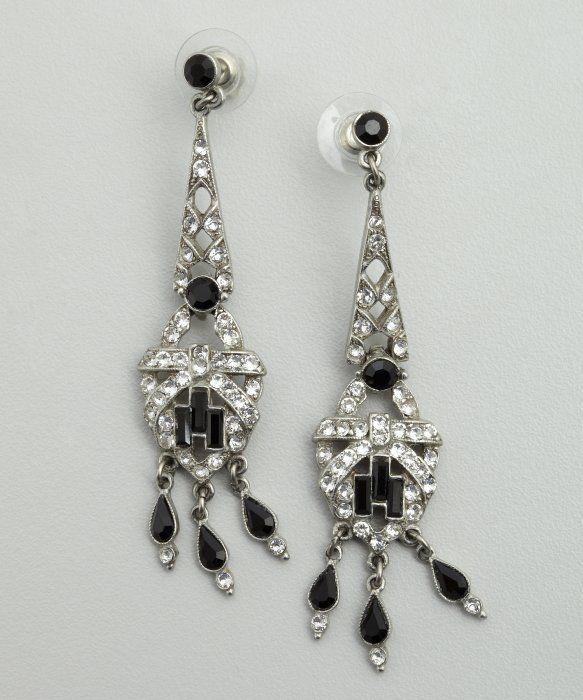 Ben Amun Black And Silver Crystal Chandelier Earrings