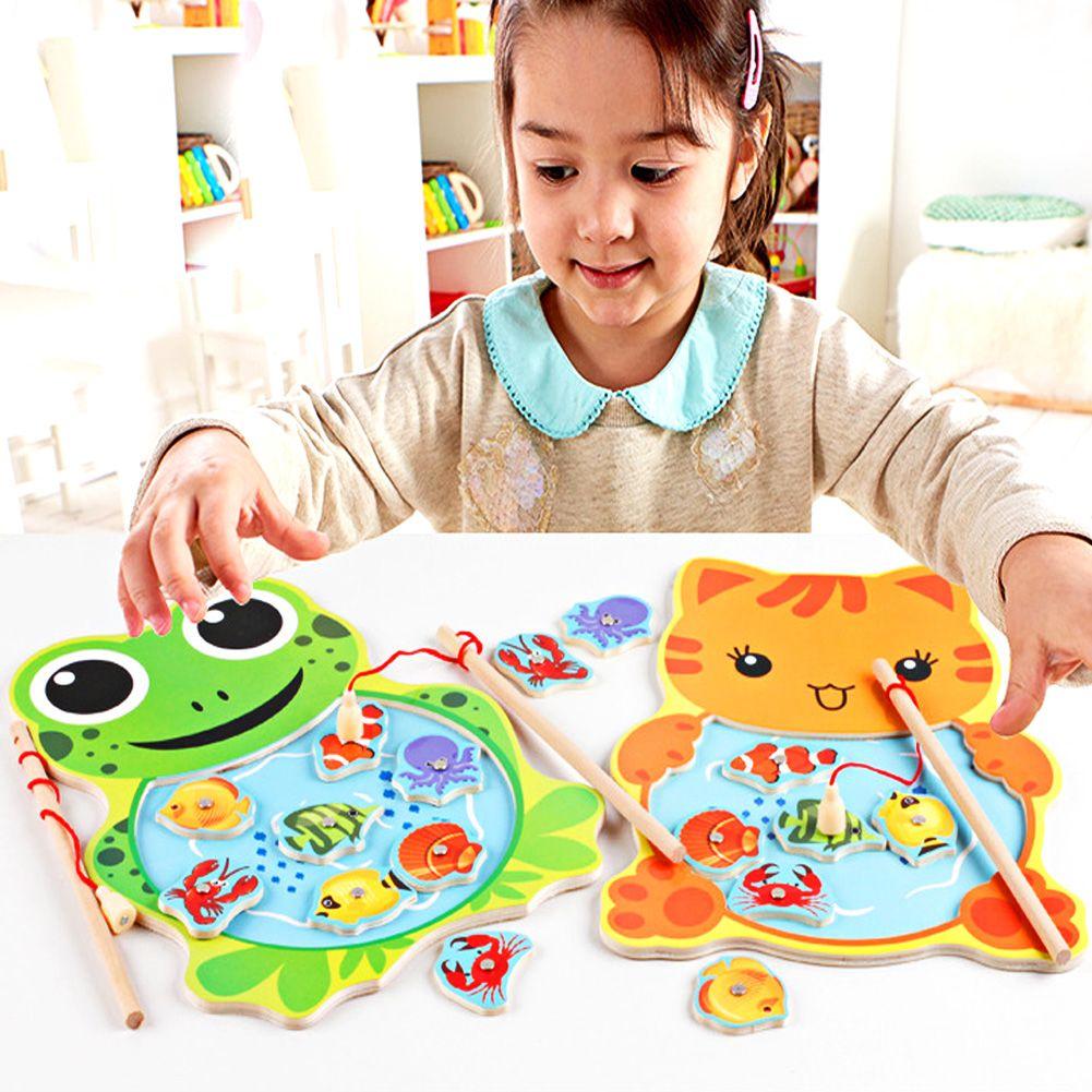Bambino Giocattoli di Legno Da Pesca Magnetica Gioco Puzzle Bordo 3D Jigsaw Puzzle Per Bambini Giocattolo Educativo per I Bambini