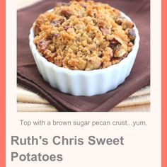 Yummmmmyyyy   http://www.the-girl-who-ate-everything.com/2010/11/sweet-potatoes-ruths-chris-style.html?m=1