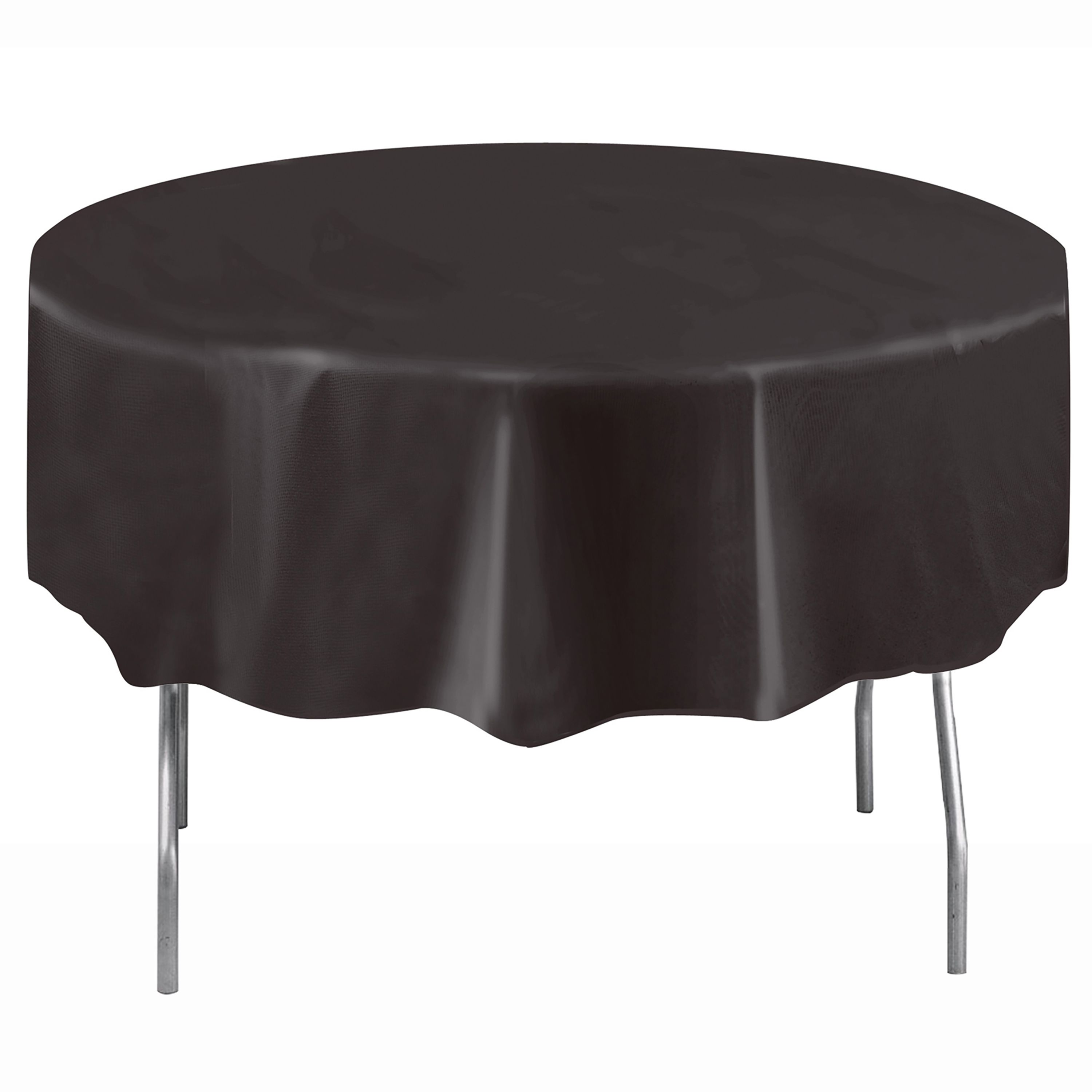 Plastic Round Tablecloth 84 In Black 1ct Walmart Com In 2020 Round Tablecloth Table Cloth Black Tablecloth